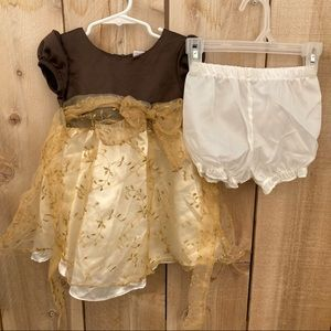 Nannette girls 24m formal dress brown cream